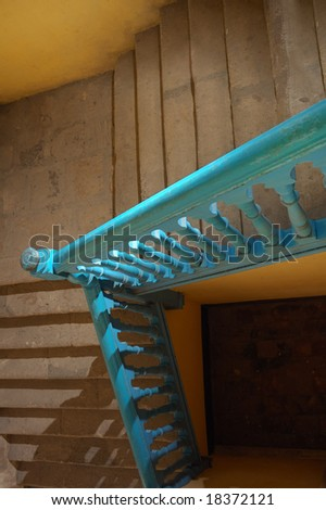 Abstract detail of rustic stairs in Old havana building interior - stock photo