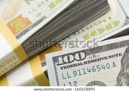 Abstract Detail of the Newly Design U.S. One Hundred Dollar Bill.