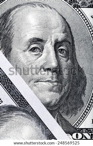 Abstract detail of the old design U.S. one hundred dollar bill. - stock photo