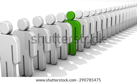 Abstract difference and individuality, uniqueness and leadership business concept, single green 3D people figure in row of white figures isolated on white background  with depth of field focus effect - stock photo