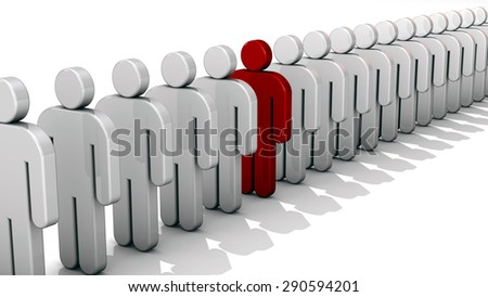 Abstract difference and individuality, uniqueness and leadership business concept, single red 3D people figure in row of white figures isolated on white background