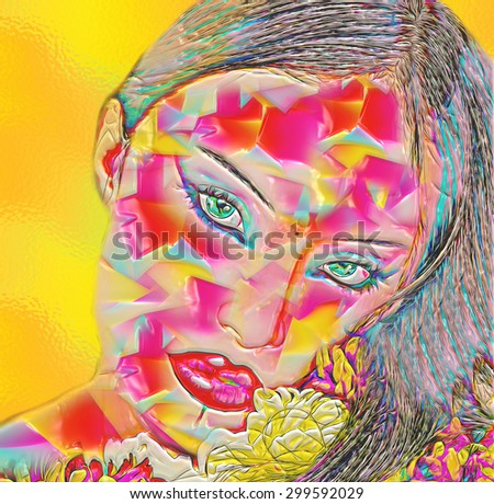 Abstract digital art image of a woman's face close up on a colorful floral textured background. Great for expressing modern art, beauty or abstract themes. - stock photo