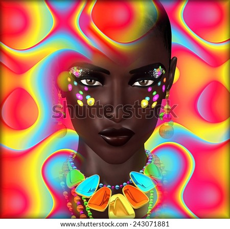 Abstract digital art image of a woman's face close up on a colorful textured background. Great for expressing modern art, beauty or abstract themes.  - stock photo