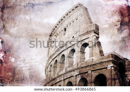 Abstract digital art of Colosseum, Rome. Old paper. Postcard, high resolution, printable on canvas