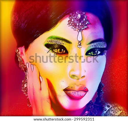 Abstract digital art of Indian or Asian woman's face up with colorful make up. An oil paint effect and glowing lights are added for a more modern art look and feel to this beauty and fashion scene - stock photo