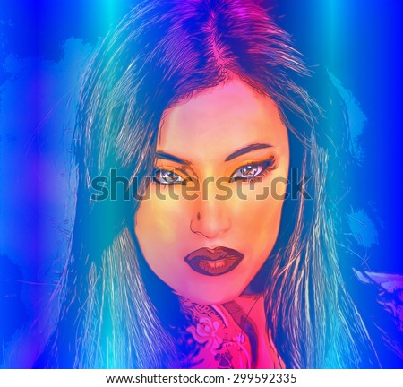 Abstract digital art of Indian woman's face, close up with colorful make up. An oil paint effect and glowing lights are added for a more modern art look and feel to this beauty and fashion scene. - stock photo