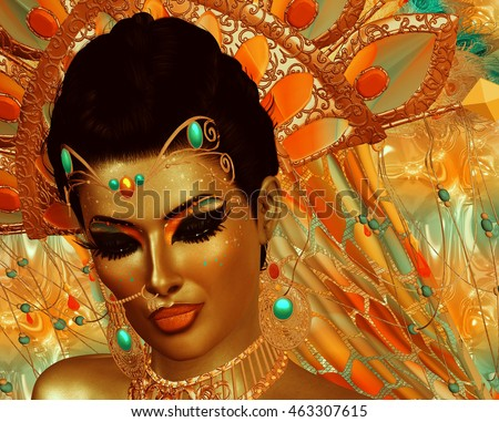 Abstract digital art of mysterious Indian or Asian fantasy woman. Perfect for themes on belly dancing,diversity,fantasy,mystery,culture and more. It's a 3d render.