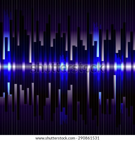 Abstract digital bacground.Sound waves oscillating glow light. Motion blue vertical lines. Raster technology equalizer