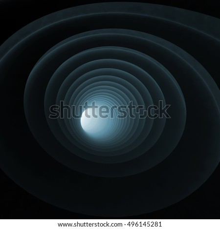 Abstract digital background, black bent vortex tunnel interior with blue light in glowing end, 3d illustration
