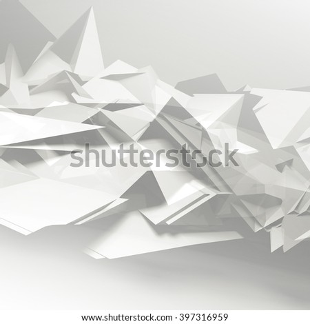 Abstract digital background. Chaotic polygonal pattern, square 3d render illustration with multi exposure effect