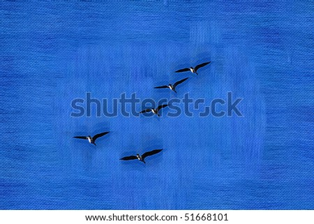 Abstract digital background of sky and birds tapestry with embroidery effect - stock photo