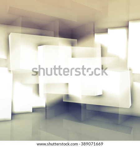 Abstract digital background with chaotic cubic structures, square composed 3d illustration - stock photo