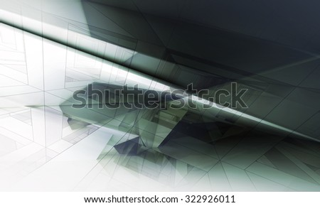 Abstract digital background with dark polygonal structure and wire-frame lines, 3d illustration