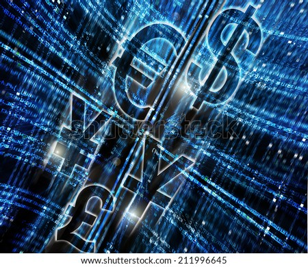 abstract digital background with money symbol - stock photo
