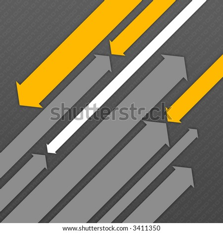 Abstract digital background with two groups of diagonal flying arrows. - stock photo
