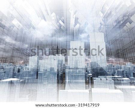 Abstract digital cityscape, skyscrapers and chaotic wire frame constructions in cloudy sky, 3d illustration
