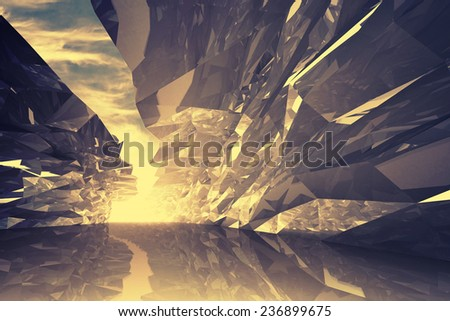 Abstract digital 3d background. Bent crystal corridor with rugged walls and glowing end. Golden light toned effect, Instagram filter - stock photo