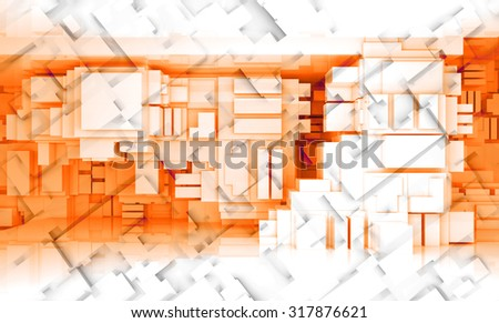 Abstract digital 3d background texture with cubic pattern and red chaotic cubic structure - stock photo