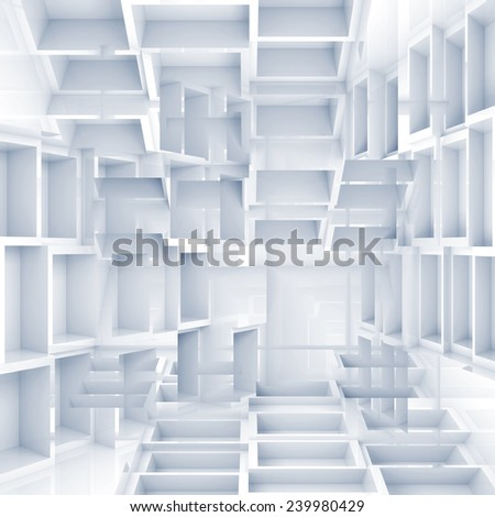 Abstract digital 3d square background with chaotic white cubes pattern