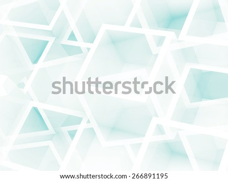Abstract digital 3d white and light blue background with chaotic cube pattern - stock photo