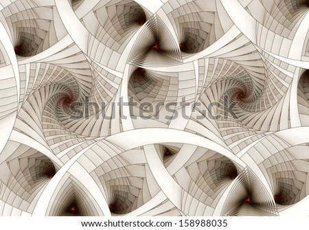 Abstract digital fractal spiral art on the white background - stock photo
