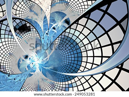 Abstract digital futuristic blue geometric background. Cover design template layout for corporate business card, book, booklet, brochure, flyer, poster, banner. Fractal artwork for creative design. - stock photo