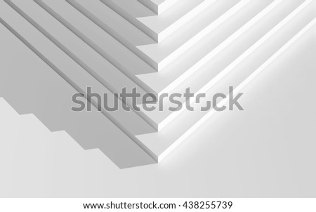 Abstract digital geometric background, corner of an empty white stairs, top view, 3d illustration