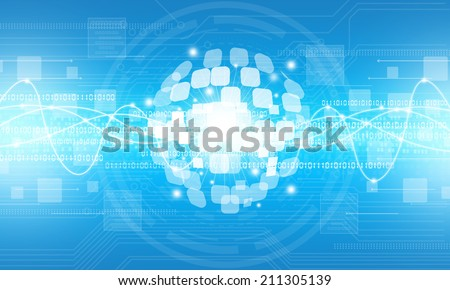 Abstract digital globe technology connection background