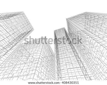 Abstract digital graphic background. Tall buildings perspective view, black wire frame lines isolated on white background. 3d render illustration - stock photo