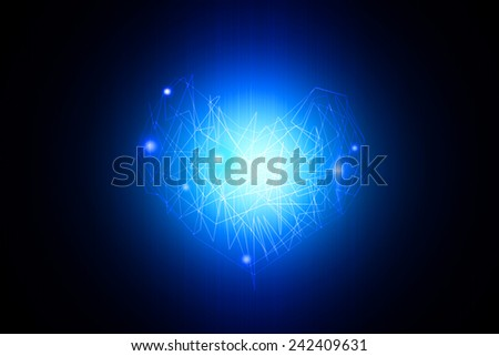 Abstract digital heart shining on blue background