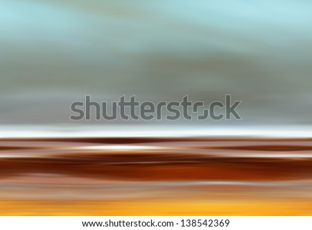 Abstract Digital Landscape with Beach, Sky, Clouds and Ocean in Gray and Orange Colors - stock photo