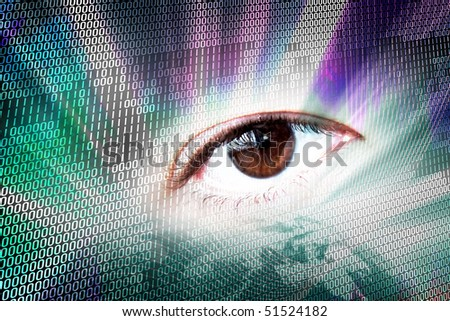 Abstract digital montage of an eye and binary code. - stock photo