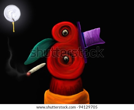 abstract digital painting of an odd-shaped face smoking a cigarette - stock photo