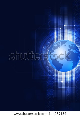 abstract digital technology business globe blue background - stock photo