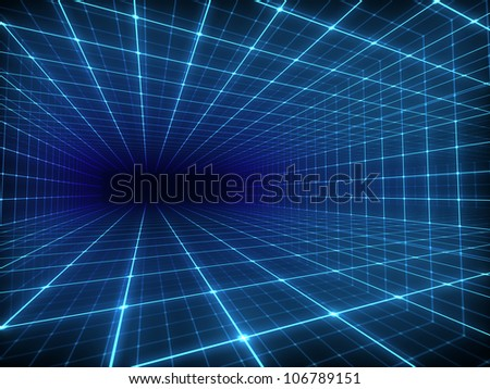 Abstract digital tunnel - stock photo