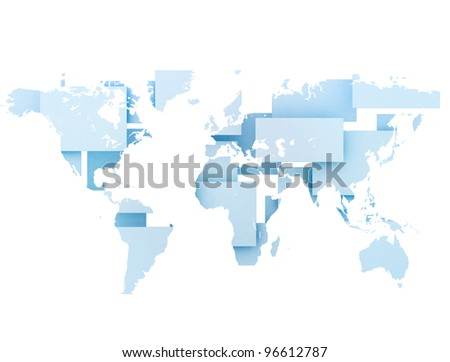 Abstract digital world map - stock photo