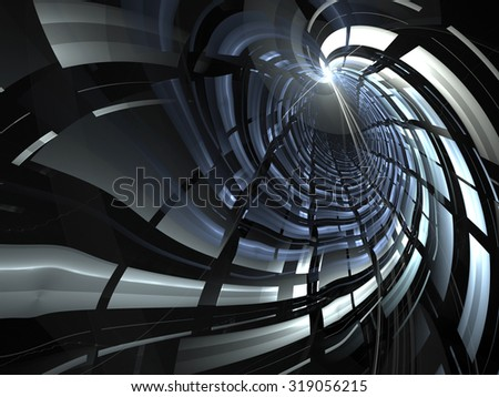 Abstract digitally generated background blue and gray tunnel with light effects