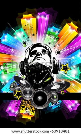 Abstract Disk Jockey Disco Flyer for music event