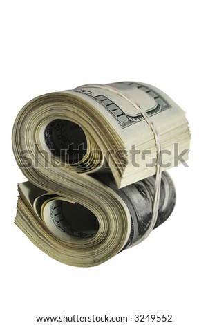 abstract dollar sign made by roll of 100 dollars banknotes - stock photo