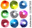 Abstract donut watercolor : illustration collection for graphic. - stock photo