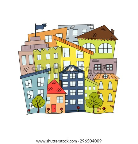Abstract doodle city background with houses. Vector illustration in cartoon style. Good for real estate, business, poster, card, invitation, greeting, social advertising, cover, logo. Raster copy - stock photo