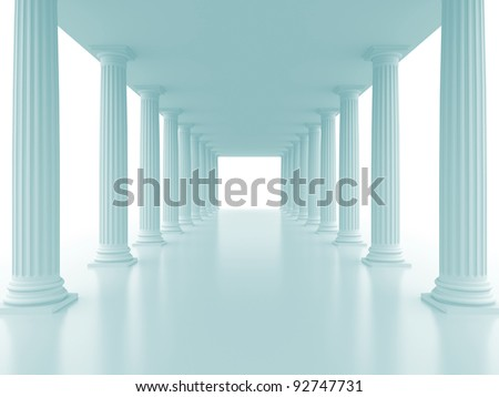 Abstract doric colonnade. 3d rendered image