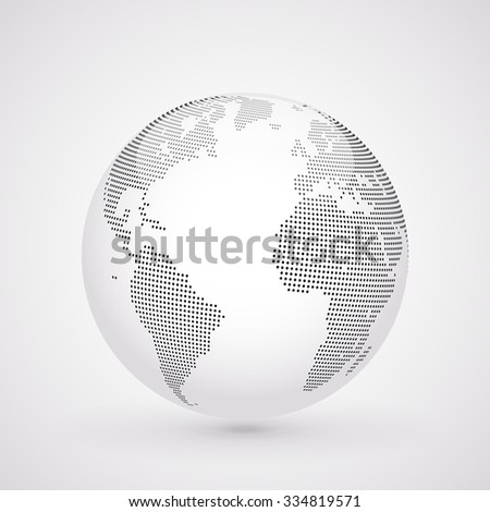 Abstract dotted globe, Central heating view on Atlantic ocean region - stock photo