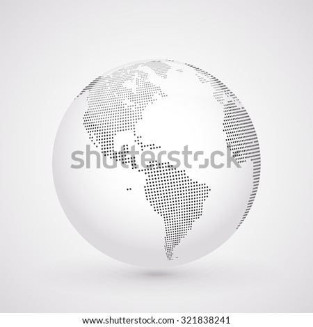 Abstract dotted globe, Central heating views over North and South America - stock photo