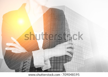 Abstract Double Exposure image of Business Women and Modern Architecture
