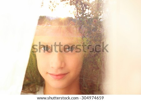 abstract Double exposure of romantic nature landscape and cute happy kid  - stock photo