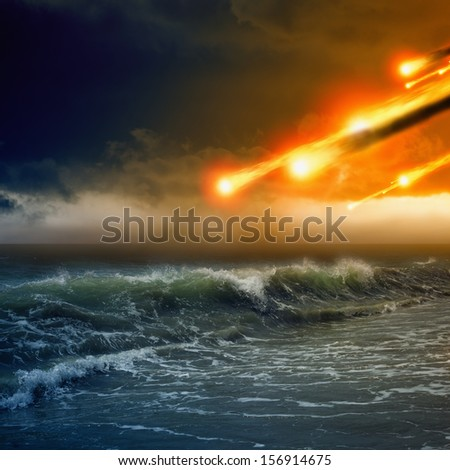 Abstract dramatic background - asteroid impact, meteorite impact, stormy sea, ocean - stock photo