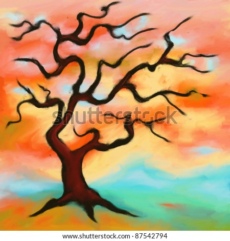 abstract drawing of a tree with red fall foliage - stock photo