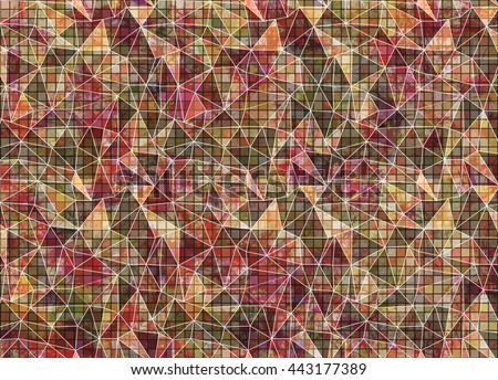 Abstract drawn colorful background. Artistic wallpaper in brown colors. Origami poligonal design with effect of  stained glass. Series of Grunge and Artistic Creative Backgrounds. - stock photo