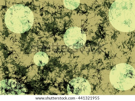 Abstract drawn grunge background with circles in beige colors. Effect of crumpled paper. Texture with cracks, ambrosia, scratches, attrition. Series of Drawn Grunge, Oil, Pastel, Chalk Backgrounds. - stock photo